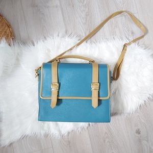Blue and Tan Satchel bag with one or two straps